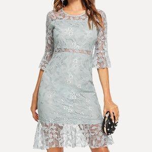 Dresses & Skirts - Blue Lace Fluted Sleeve Dressolor:Blue Style:Ele